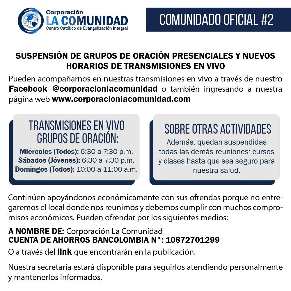 Comunicado Coronavirus Corporación La Comunidad